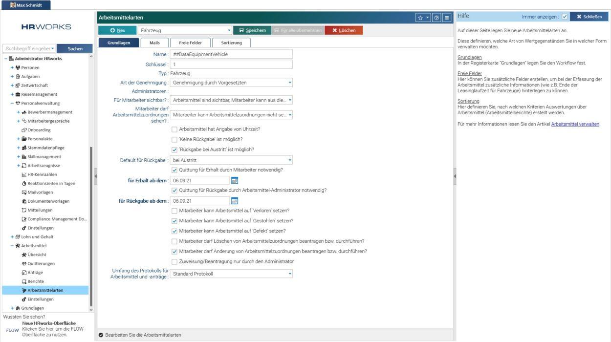 Arbeitsmittelübersicht in HRworks Desktopansicht