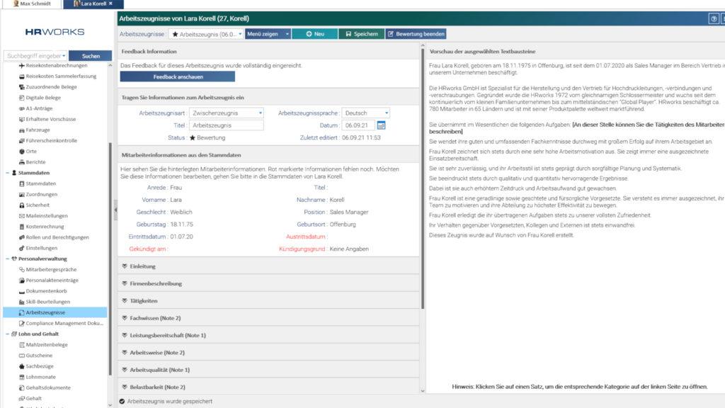 Oberfläche Arbeitszeugnis Admin-Ansicht in HRworks
