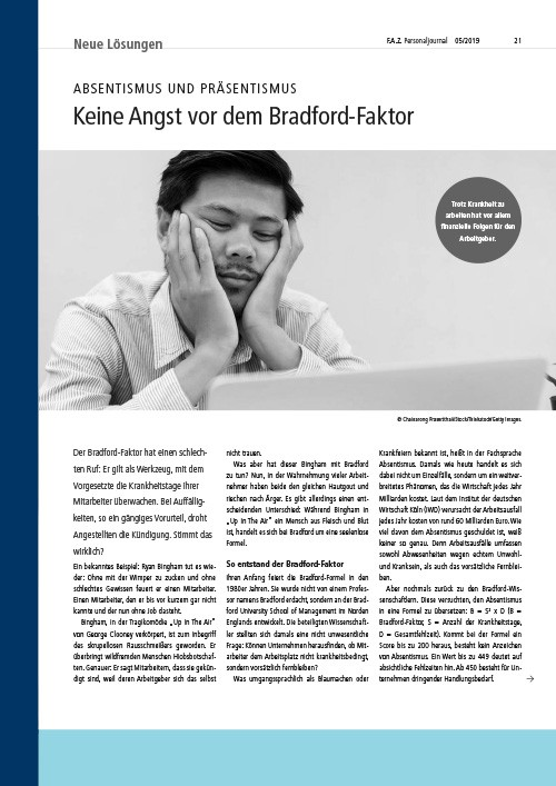 FAZ Personaljournal - Bradford Faktor - Absentismus - Presse