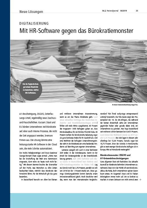 FAZ Personaljournal - Mit HR-Software gegen das Bürokratiemonster - Presse